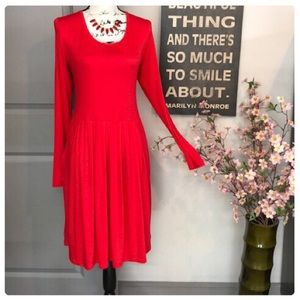 Dresses & Skirts - 💕Beautiful Long Sleeve Fit & Flare Red Dress💕